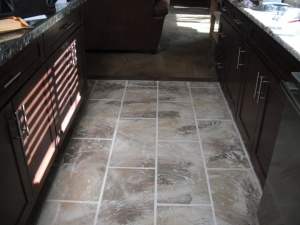 Tile Concrete Overlay in Kitchen
