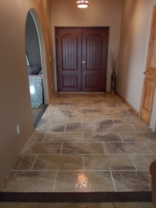 Concrete Overlay Flooring in Tile Finish in Entryway of Home