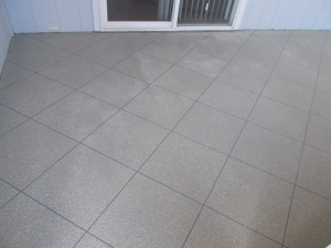 Tile Look Concrete Overlay in Tan and Gray Finish