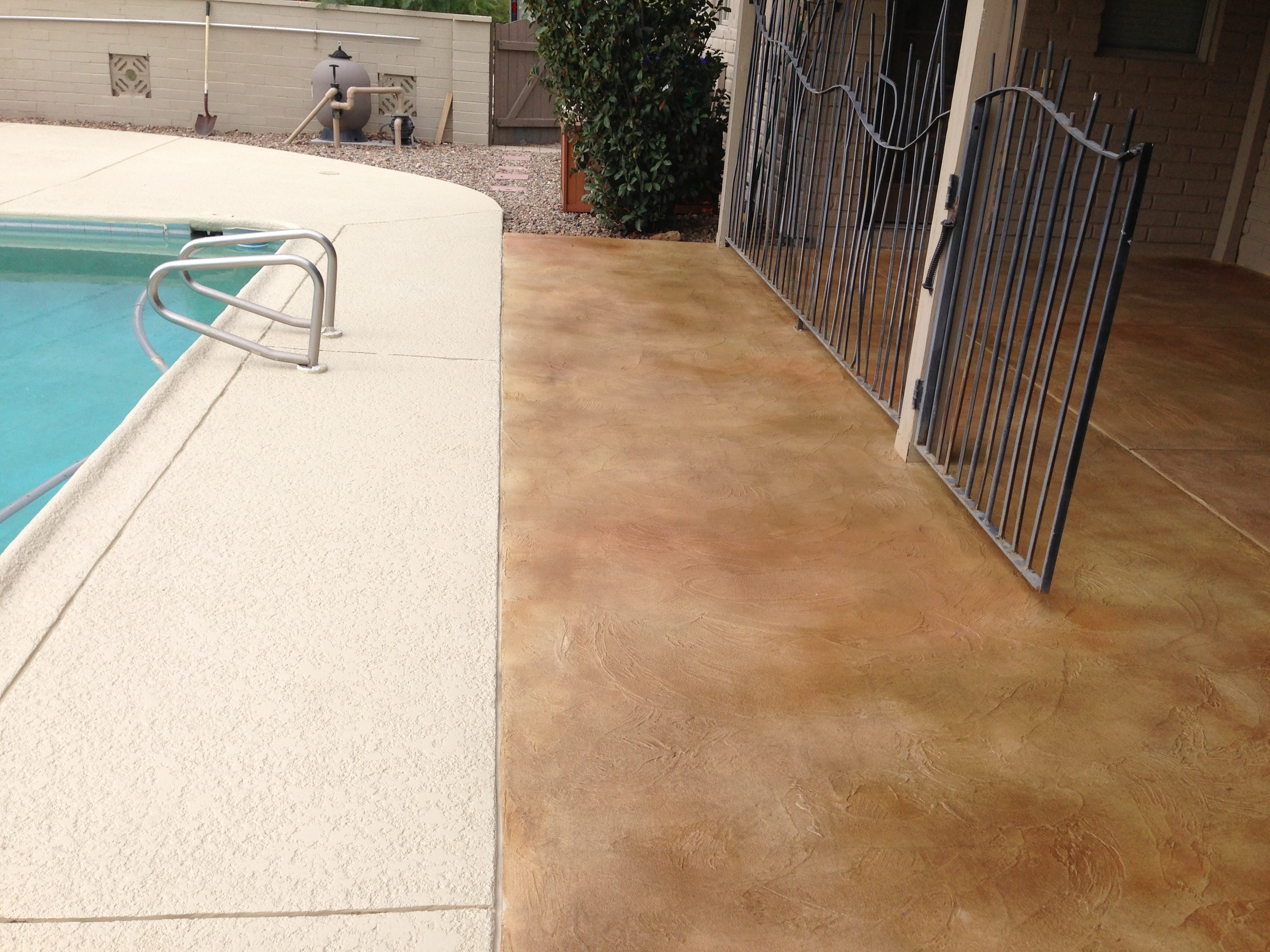 New Stained Concrete Overlay And Pool Deck Addition Gives This Backyard A  Brand New Look